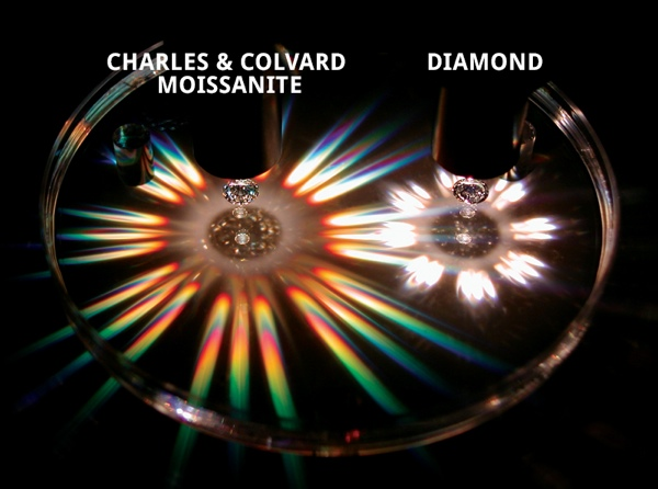 An image comparing the brightness and fire of moissanite vs. diamond. Moissanite wins.